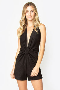 Andes Twist Front Suede Romper