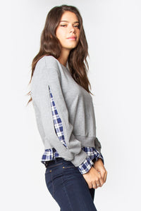 Felix Mixed Media Plaid Top