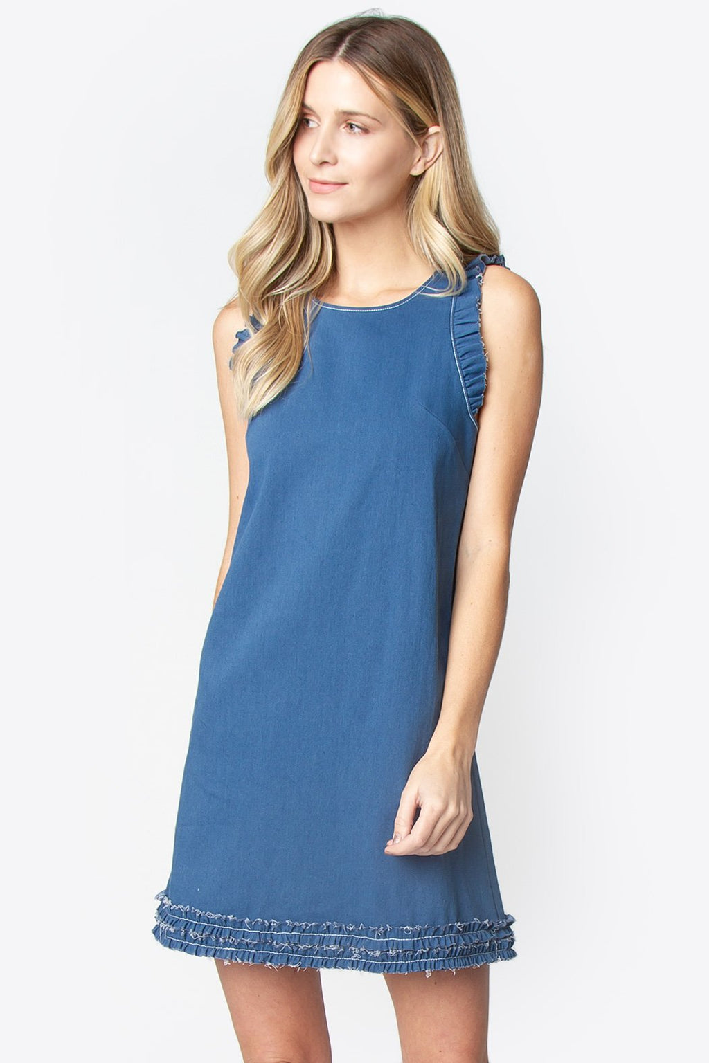 Xavier Raw Edge Denim Dress
