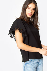 Onyx Lace Trim Top