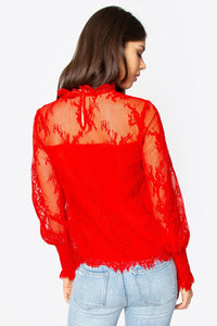 Belize Lace Mock Neck Blouse