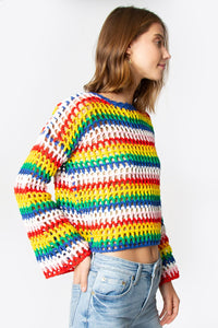 Electric Rainbow Crochet Sweater