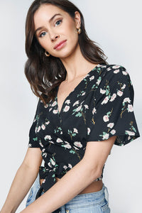 Devi Floral Wrap Crop Top