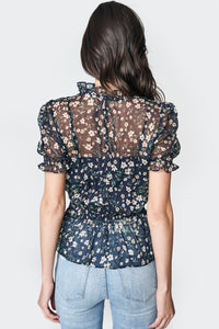 Pretty Petals Floral Mock Neck Blouse