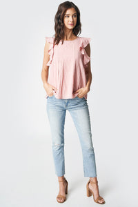 Real Love Short Sleeve Ruffle Blouse