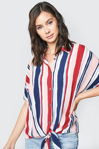 Candy Striped Button Up Tie-Front Top