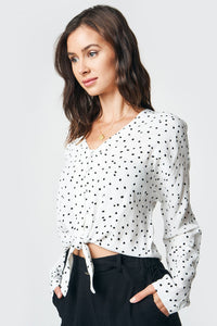 Why Knot Polka Dot Front Tie Top