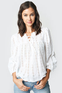 Born To Be Yours Eyelet Peasant Top