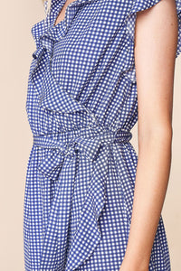 Dasi Check Ruffle Wrap Dress