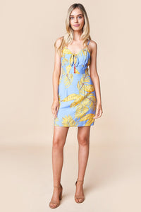 Karah Floral Front Tie Mini Dress