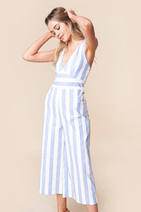 Bahama Mama Striped Halter Jumpsuit