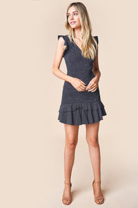 Deja Vu Smocked Ruffle Hem Dress