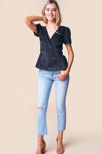 Vixenish Velvet Wrap Top