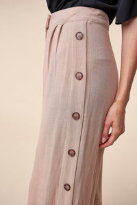 Saddle Up Linen Side Button Wide Leg Pants
