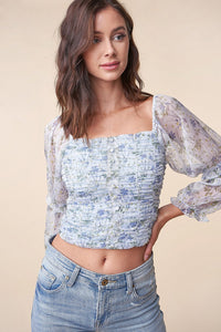 Utopia Floral Square Neck Crop Top