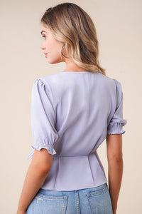Scenic Skies Scallop Trim Wrap Top