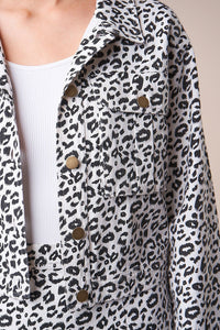 Wildest Dreams Cropped Leopard Denim Jacket