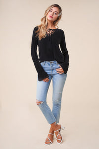 Luxe Long Sleeve Lace Trim Top