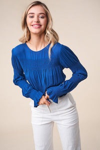 Waterfront Long Sleeve Smocked Top