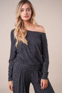 Layover One Shoulder Loose Knit Top