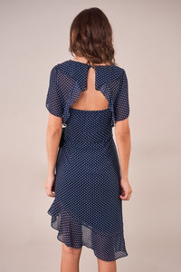 Valence Asymmetrical Polka Dot Wrap Dress