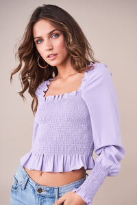 Muy Caliente Smocked Square Neck Top