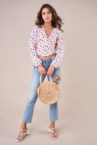 Bambi Floral Puff Sleeve Crop Top