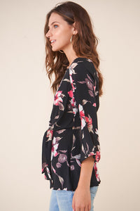 Tropicana Floral Long Sleeve Wrap Top