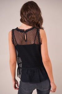 Marie Sheer Mesh Peplum Top
