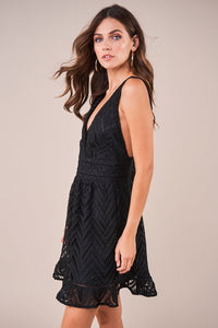 All My Love Plunging Crochet Lace Dress