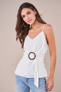 Venetian White Front Buckle Cami