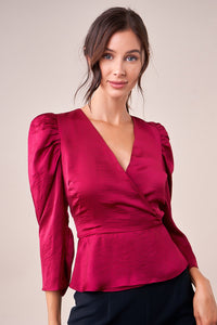 Totally Trendy Puff Sleeve Surplice Top