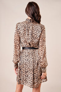 Doheny Leopard Print High Neck Dress