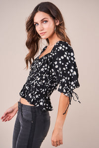 Ray Of Sunshine Floral Puff Sleeve Top