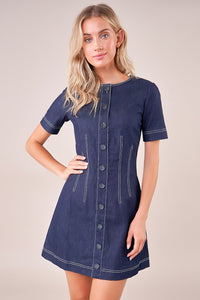 Per Diem Stitched Denim Shift Dress