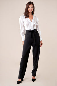 Miss Punctuality Pleated Blouse Jumpsuit