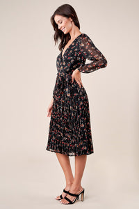 Precious Petal Pleated Floral Midi Dress