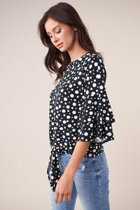 Rhythm Polka Dot Tie-Front Top