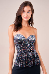 Everest Strapless Floral Print Bustier Top