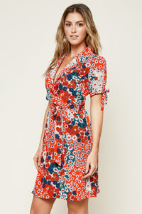 Tabatha Mixed Floral Print Mini Wrap Dress