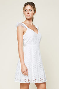 Baby Don't Go Eyelet Mini Dress