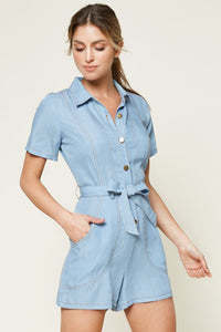 Arizona Chambray Button Down Romper