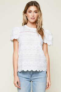 So Dreamy Mix Media Scallop Trim Top
