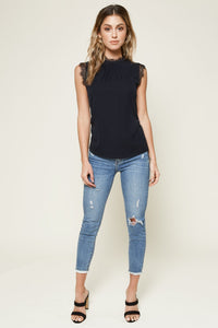 Rozie Sleeveless Lace Trim Blouse