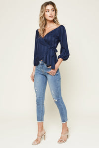Rosado Striped Off The Shoulder Wrap Top