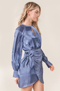 Semie Long Sleeve Mini Wrap Dress