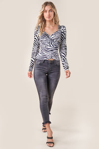 Born To Run Zebra Print Wrap Top