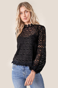 Santorini Crochet Lace Mock Neck Blouse