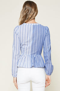 Leo Striped Wrap Top