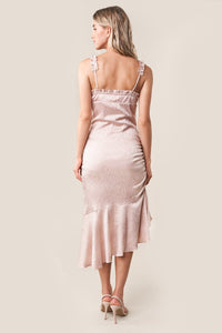 Rose Quartz Ruffled Satin Slip Dress